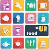 Vlakke UI-ontwerppictogrammen - Voedsel Stock Afbeelding