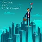 Vlakke van de Bannerwaarden en Motivatie Werkzoekende vector illustratie