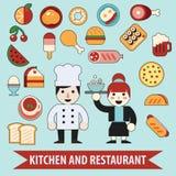Vlakke van het chef-kokkarakter en voedsel pictogrammen Stock Fotografie