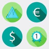 Vlakke van het ontwerpsucces en geld pictogrammen met lange schaduw Stock Fotografie