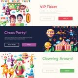 Vlakke van ontwerpcircus en Carnaval banners, geplaatste kopballen stock illustratie