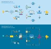 Vlakke van van Stijldiagram, Infographic en UI Pictogrammen voor uw bedrijfsproject te gebruiken royalty-vrije illustratie