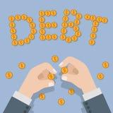 Vlakke vector isometrische 3d van schuld financiële bankzaken Royalty-vrije Stock Foto