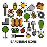 Vlakke vector kleurrijke en pictogramreeks die tuinieren bewerken Stock Afbeelding