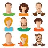 Vlakke vector mannelijke en vrouwelijke avatars Royalty-vrije Illustratie