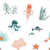 Vlakke vector naadloze het patroonachtergrond van Marine Life Het onderwaterdierenwild vector illustratie