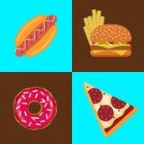 Vlakke vector snel voedselpictogrammen Stock Afbeelding