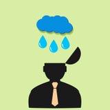 Vlakke vector van de pictogrammens en regen wolken Stock Afbeelding