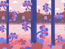 Vlakke vectorachtergrond in violette en roze kleuren met bos, rivier en heuvels stock illustratie