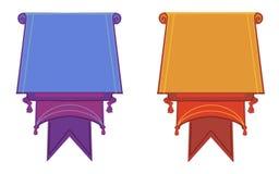 Vlakke vectordiebanners vlak op witte achtergrond worden geïsoleerd royalty-vrije illustratie
