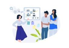 Vlakke vectorillustratie van bedrijfsgroepswerk royalty-vrije illustratie