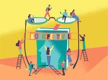 Vlakke vectorillustratie van boekfestival royalty-vrije stock afbeeldingen