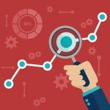 Vlakke vectorillustratie van de informatie van Webanalytics en de statistiek van de ontwikkelingswebsite vector illustratie