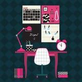 Vlakke vectorillustratie van de werkplaats van het huisbureau Royalty-vrije Stock Afbeeldingen