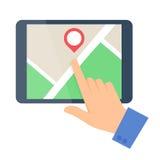 Vlakke vectorillustratie van een menselijke hand, kaart, tabletcomputer Royalty-vrije Stock Foto