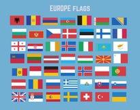 Vlakke vectorinzameling van de vlagreeks van Europa Stock Foto's