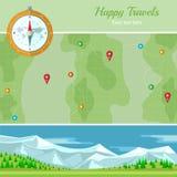 Vlakke vectorkaart als achtergrond met bergenlandschap Stock Foto