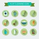 Vlakke vectorkleurenreeks pictogrammen Huis het schoonmaken en wasserij Vect Stock Illustratie