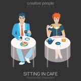 Vlakke vectormensen in koffie of restaurant Royalty-vrije Stock Foto's
