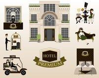 Vlakke vectorontwerpelementen van de hoteldienst Vector Royalty-vrije Stock Foto's
