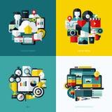 Vlakke vectorpictogrammenreeks van wolkenopslag, sociale media, SEO Royalty-vrije Stock Afbeeldingen