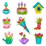 Vlakke vectorreeks bloemensamenstellingen Mooie die de lentebloemen in pot, houten doos, het water geven kop, theepot worden gepl vector illustratie