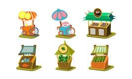 Vlakke vectorreeks boxen met verse vissen, sushi, broccoli en watermeloenen, karren met ijs-riem en gesponnen suiker royalty-vrije illustratie