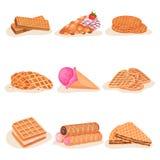 Vlakke vectorreeks heerlijke wafeldesserts Smakelijk roomijs, zoete snacks voor het snelle voedsel van de ontbijtstraat Stock Foto