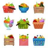 Vlakke vectorreeks houten dozen, kom, containers, het winkelen en picknickmanden met verse vruchten Smakelijk en gezond voedsel stock illustratie
