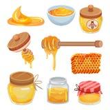 Vlakke vectorreeks kleurrijke honingspictogrammen Organisch en gezond product Natuurlijke kleverige vloeistof Zoet Voedsel vector illustratie