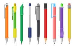 Vlakke vectorreeks kleurrijke pennen en potloden Kantoorbehoeftenlevering School of bureauhulpmiddelen om te schrijven en te trek royalty-vrije illustratie
