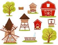 Vlakke vectorreeks landbouwbedrijfpictogrammen Gebouwen, bouw en fruitbomen Elementen voor mobiel spel of kinderenboek vector illustratie