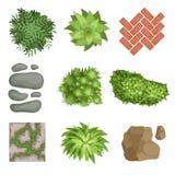 Vlakke vectorreeks landschapselementen Groene installaties, stenen, verschillende types van wegdekking Hoogste mening vector illustratie
