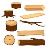 Vlakke vectorreeks materialen voor de houten industrie Oude boomstompen en tak, lange straal en planken, houten logboek naughty stock illustratie