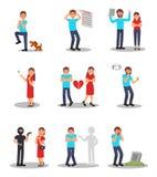 Vlakke vectorreeks mensen in diverse beklemtoonde situaties Beeldverhaalkarakters van jonge mannen en vrouwen met verschillend royalty-vrije illustratie