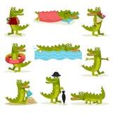 Vlakke vectorreeks van grappige krokodil in verschillende acties Groen roofzuchtig reptiel Grappig vermenselijkt dier royalty-vrije illustratie