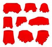 Vlakke vectorreeks van heldere rode doek De stof van de zijde Textielproduct Verborgen voorwerp Tafellinnen Presentatie van auto vector illustratie