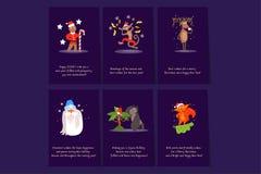 Vlakke vectorreeks van 6 Kerstkaartmalplaatjes Prentbriefkaaren met gelukwensen voor Nieuwjaar, peperkoekmens, Santa Claus vector illustratie