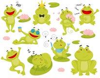 Vlakke vectorreeks van kikker in verschillende acties Beeldverhaalkarakter van grappige groene pad vector illustratie