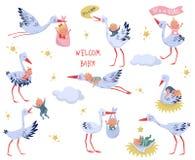 Vlakke vectorreeks witte ooievaars met babys Mooie vogels en pasgeboren jonge geitjes Elementen voor kinderenboek of groetkaart royalty-vrije illustratie