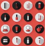 Vlakke vectorschoonheidsmiddelen, schoonheid en make-uppictogrammen Royalty-vrije Stock Afbeeldingen