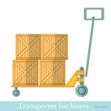 Vlakke vervoerder voor dozen op wit Stock Foto's