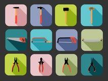 Vlakke vierkante hulpmiddelenpictogrammen Royalty-vrije Stock Foto's