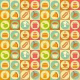 Vlakke Voedsel Naadloze Achtergrond Stock Foto