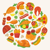 Vlakke Voedselpictogrammen Royalty-vrije Stock Afbeelding
