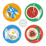 Vlakke Voedselpictogrammen Royalty-vrije Stock Afbeeldingen