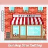 Vlakke voorgevel van beste winkel De straatbouw Royalty-vrije Stock Afbeeldingen