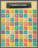 72 vlakke Websitepictogrammen, Kleurrijke versie Stock Foto's