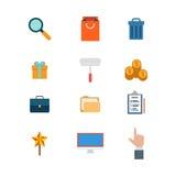 Vlakke websitepictogrammen: zoek voegt het winkelen het afval van de zakkar toe Stock Fotografie