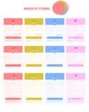 Vlakke websitevormen met tekst Stock Fotografie